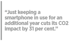 Just keeping a smartphone in use for an additional year cuts its CO2 impact by 31 per cent.